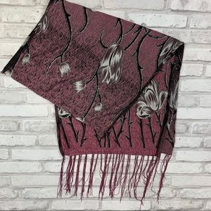 Purple Floral Wrap Scarf With Fringe